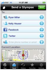 Glympse location based smarphone service that works with facebook